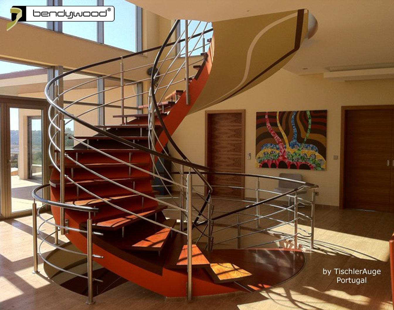 Bending wood Bendywood® - spiral staircase with curved wooden bending handrails